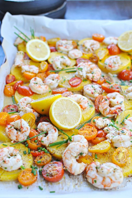 One Tray Meals: Roasted Shrimp and Polenta with Halloumi or Pancetta Crisps from The Pig and Quill | The Health Sessions