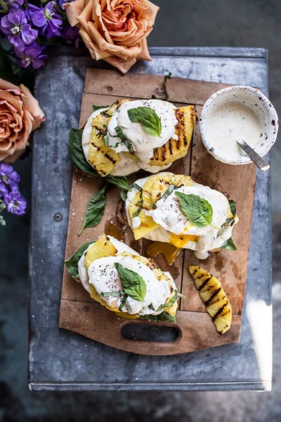 10 Healthy Egg Breakfasts: Grilled Pineapple Eggs Benedict from Half Baked Harvest | The Health Sessions