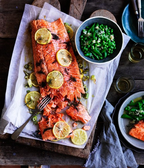 How to Enjoy More Spring Veggies Every Day: Slow-Cooked Ocean Trout with Peas, and Meyer Lemon and Fennel Salsa from Gourmet Traveller | The Health Sessions