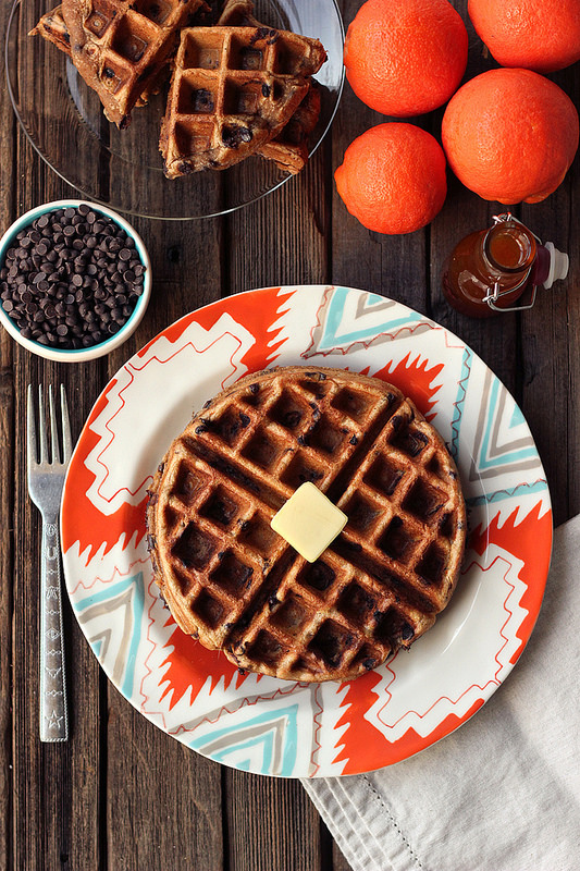 Healthy Stacks: Spiced Orange Chocolate Chip Waffles from Tasty Yummies | The Health Sessions