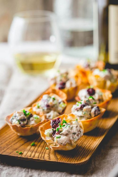 Healthy Party Food: 15-Minute Chicken Salad Bites with Cranberries and Walnuts from Healthy Seasonal Recipes | The Health Sessions