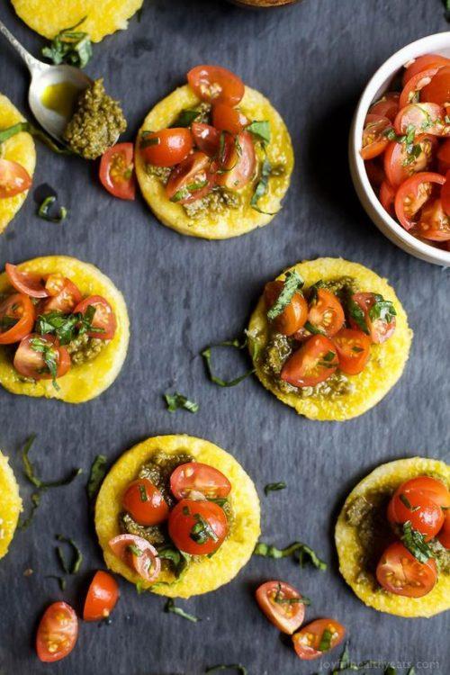Health Party Food: Pesto Polenta Bites with Tomato Bruschetta from Joyful Healthy Eats | The Health Sessions