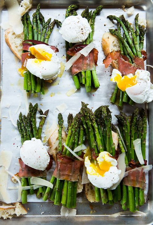 Healthy Easter Brunch - Poached Eggs with Asparagus & Prosciutto