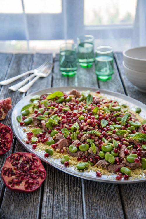Healthy Easter Brunch - Lamb with Pomegranate, Mint & Broad Beans