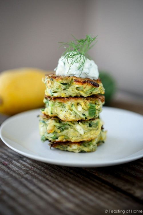 Healthy Easter Brunch - Zucchini Fritters with Feta and Tzatziki