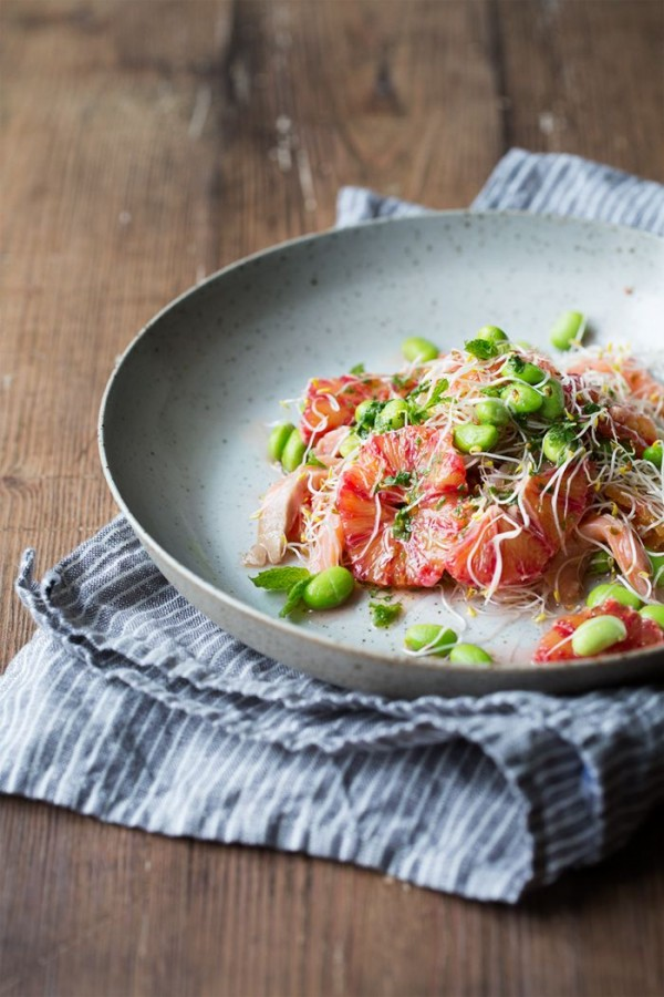 Blood Orange, Smoked Salmon and Edamame Salad with Mint Dressing from ...