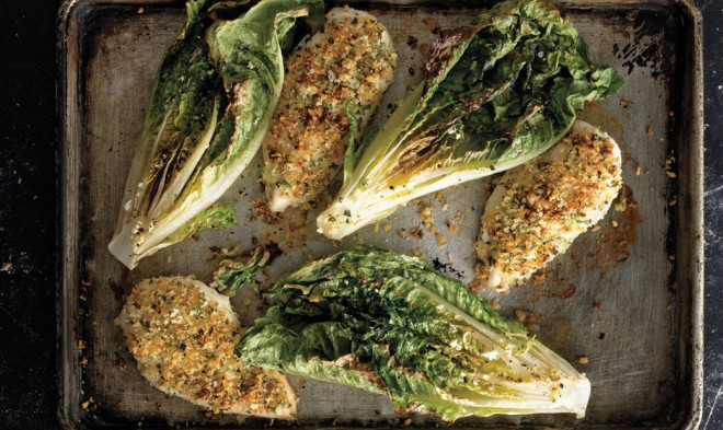 Parmesan Chicken with Caesar Roasted Romaine from Bon Appetite |How to Effortlessly Make a Healthy Dinner When You're Tired