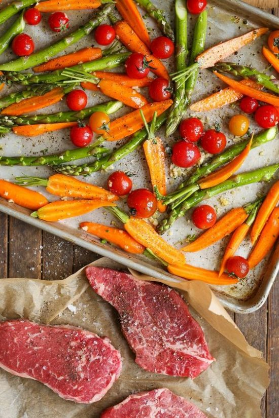 One Tray Meals: Sheet Pan Steak and Veggies from The Kitchn | The Health Sessions