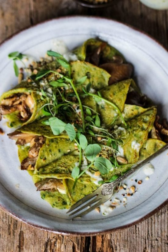 Health-Boosting Herb Recipes: Spinach Crepes with Mushrooms, Basil Pesto and Tahini Dressing from Rebel Recipes | The Health Sessions