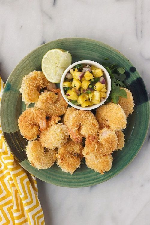 Healthy Party Food: Grain-Free Coconut Shrimp with Mango Salsa from Tasty Yummies | The Health Sessions