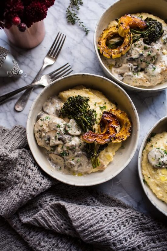 Medicinal Mushroom Recipes: 45-Minute Truffled Mushroom Chicken with Polenta and Roasted Broccolini from Half Baked Harvest | The Health Sessions