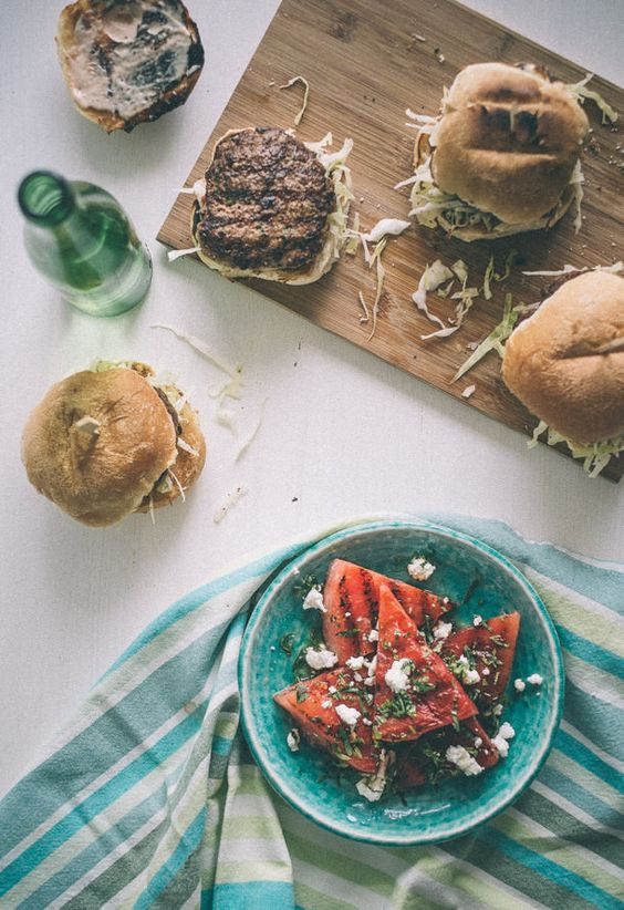 Healthy Burgers & Fries: Lamb Burgers with a Chargrilled Watermelon Salad from Souvlaki for the Soul | The Health Sessions
