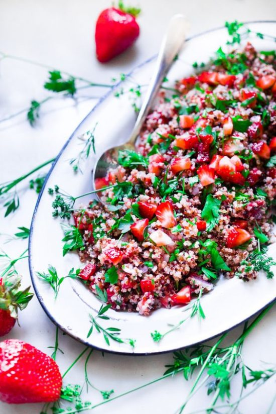 Health-Boosting Herb Recipes: Strawberry Quinoa Tabouli from Feasting at Home | The Health Sessions
