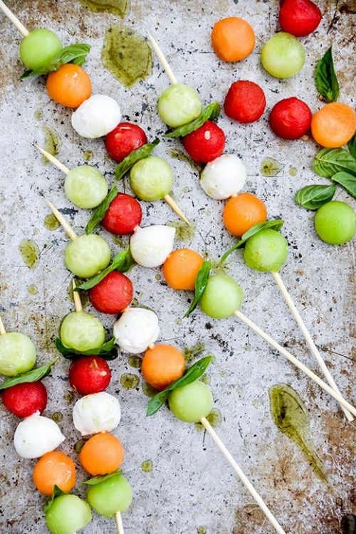 Healthy Party Food: Melon Caprese with Herb Oil from The Floating Kitchen | The Health Sessions