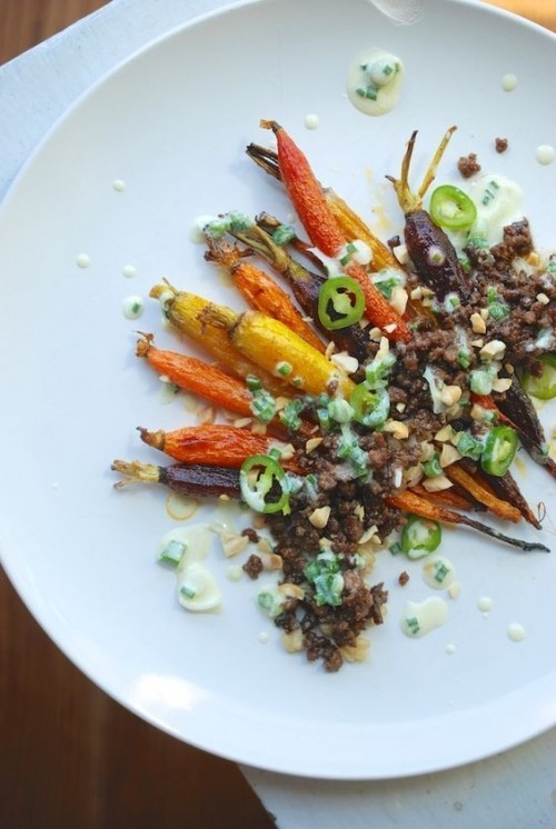 How to Enjoy More Spring Veggies Every Day: Slow-Roasted carrots with Lamb and Spring Onion Dressing from The Roaming Kitchen |The Health Sessions