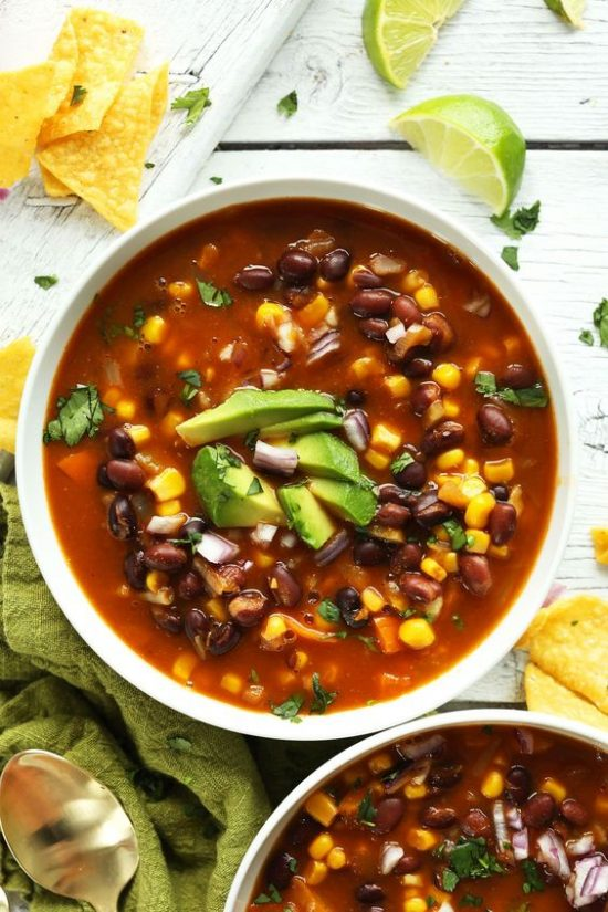 9 Meal-Worthy Soups: Chipotle Black Bean Tortilla Soup from Minimalist Baker | The Health Sessions