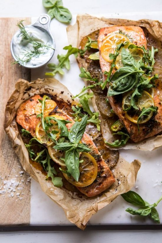 Health-Boosting Herbs: Parchment Baked Lemon Salmon with Dill Yoghurt from Half Baked Harvest | The Health Sessions