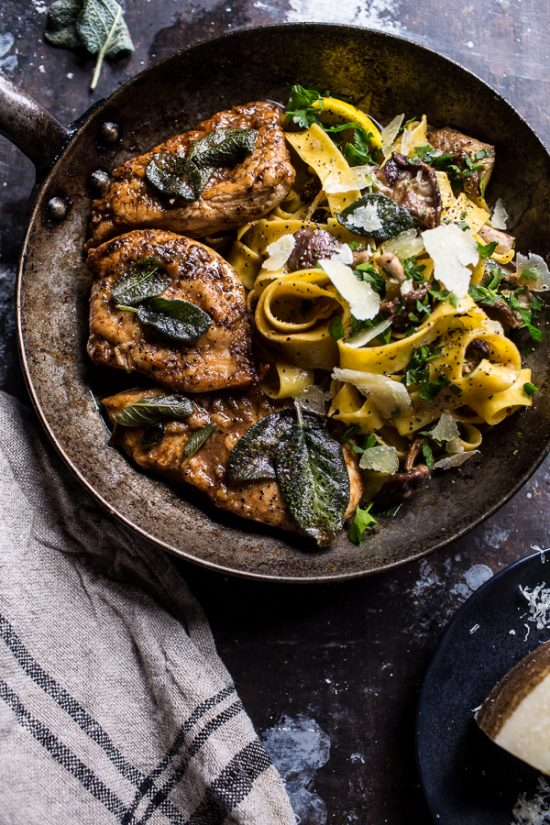 Your Favourite Fall Produce: Browned Sage Butter Chicken Piccata with Mushroom Pasta from Half Baked Harvest | The Health Sessions