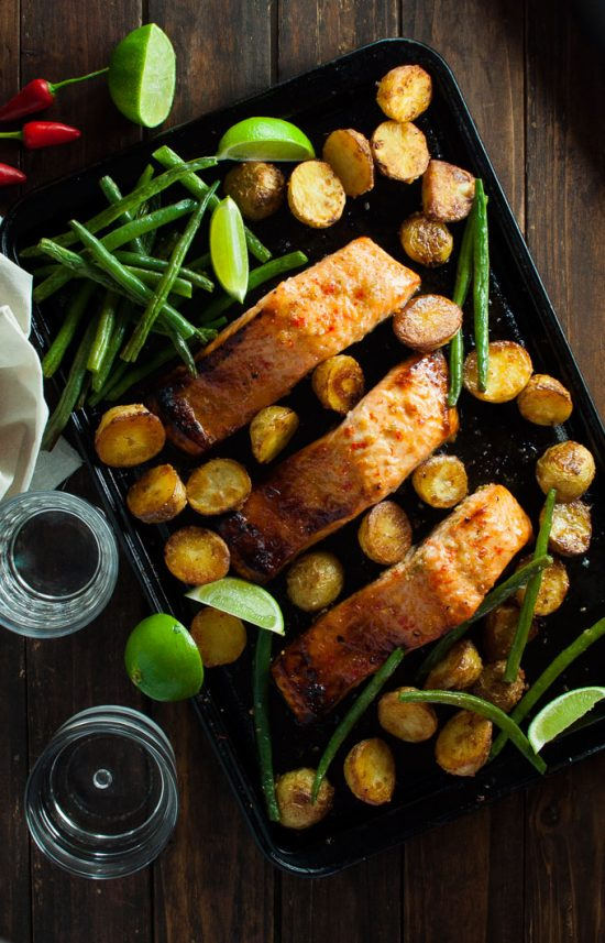 One Tray Meals: Honey Chili Lime Salmon from RecipeTin Eats | The Health Sessions