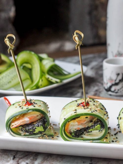 Healthy Party Food: Cucumber Rolls with Shrimp Avocado and Wasabi Aioli from Avocado Pesto | The Health Sessions