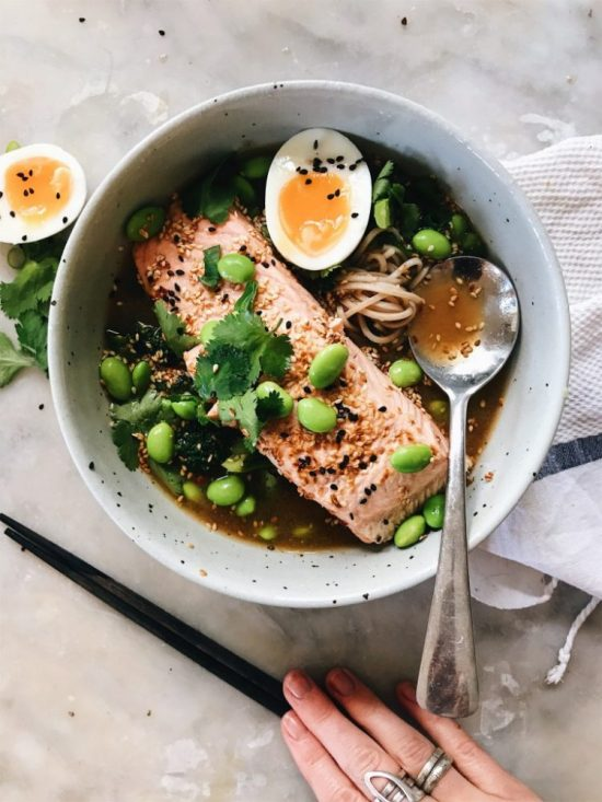Eat More Fermented Foods: Salmon Soba Bowls with Miso Ginger Broth from The Healthy Hunter   The Health Sessions