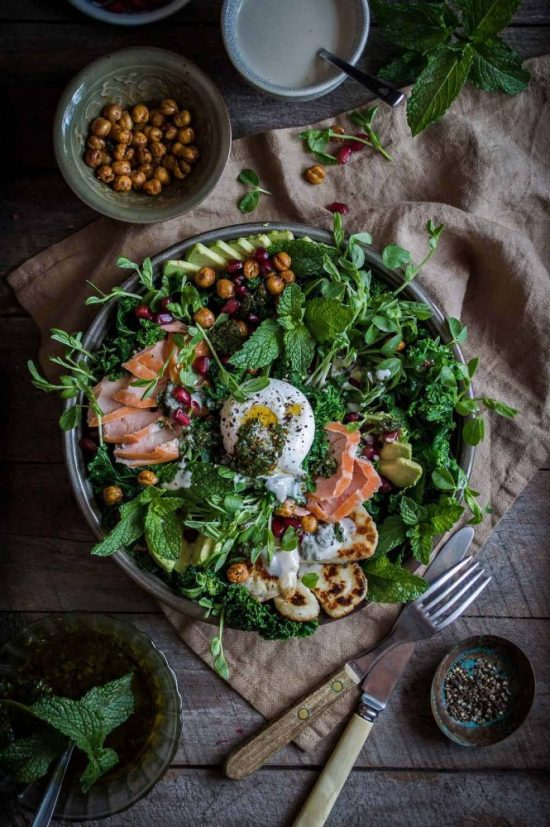 Smart Food Combinations: Kale Salad with Smoked Salmon and Tahini Yoghurt from HeNeedsFood | The Health Sessions
