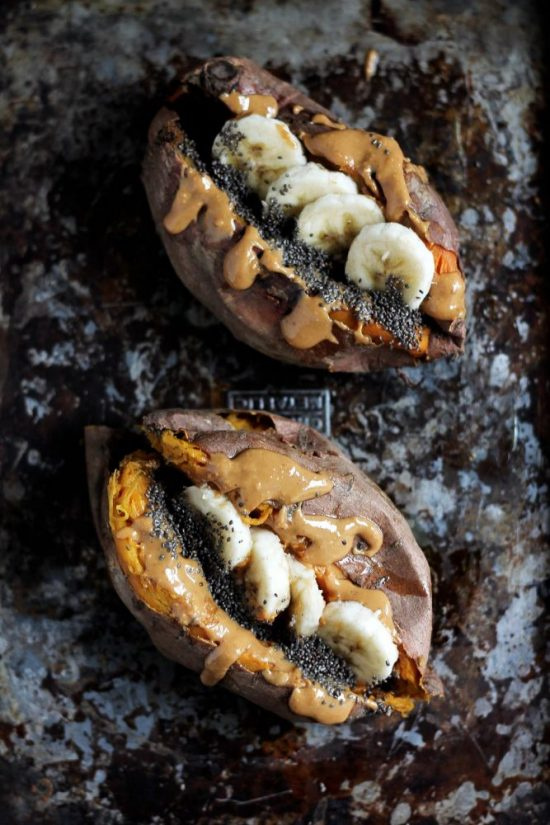 Smart Food Combinations: Baked Breakfast Sweet Potato with Almond Butter, Banana and Chia from Ambitious Kitchen | The Health Sessions