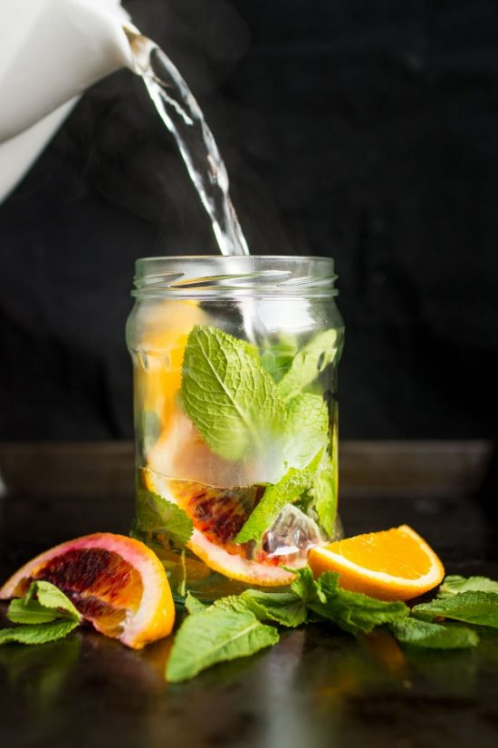 10 Health-Boosting Hot Drinks: Fresh Orange and Mint Tea from Lauren Caris Cooks | The Health Sessions