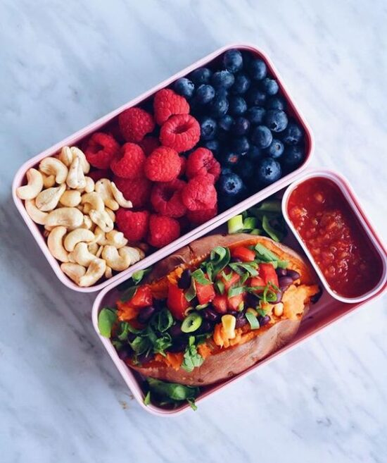 Gluten-Free Lunch Box: Stuffed Sweet Potato, Berries & Cashews from Olivia B. (Instagram) | The Health Sessions