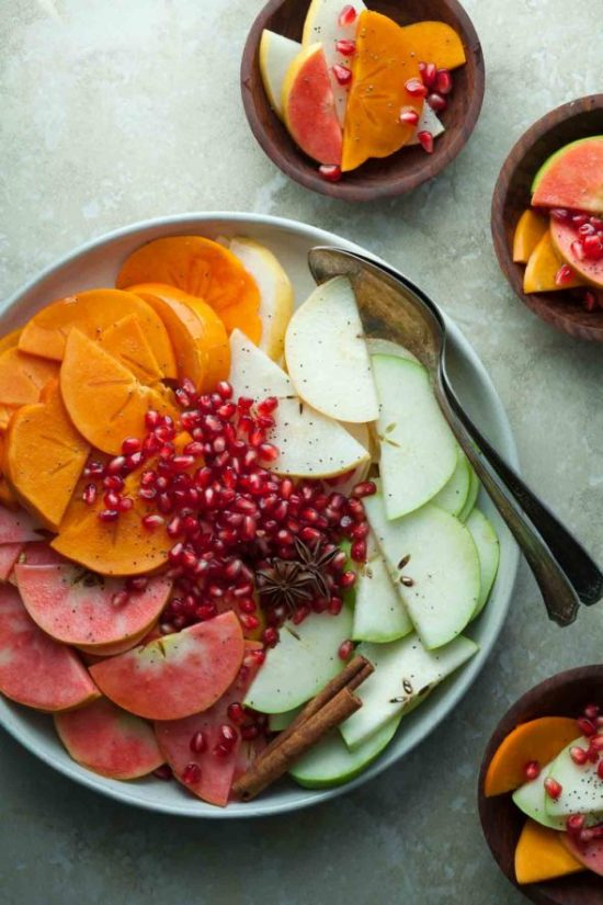 12 Better-for-You Christmas Treats: Holiday Fruit Salad with Spiced Vanilla Syrup from Gourmande in the Kitchen | The Health Sessions