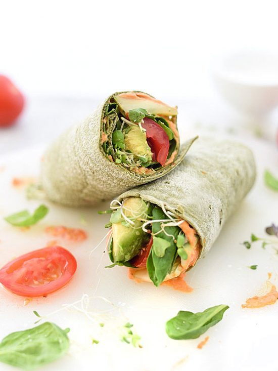 Eat Vegetables with Every Meal: Hummus Veggie Wrap from Foodiecrush | The Health Sessions