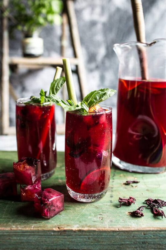 10 Healthy Homemade Iced Teas: Hibiscus, Lemongrass, Basil and Honey Sweet Iced Tea from Half Baked Harvest | The Health Sessions