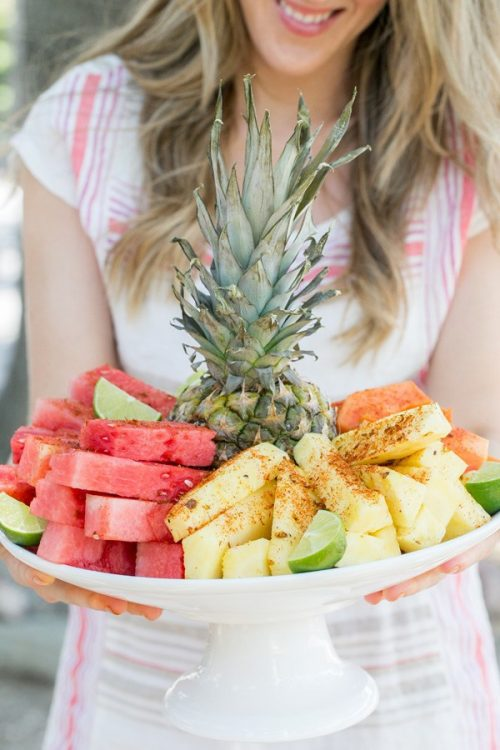 Healthy Party Food: Mexica Fruit Plate with Chili Lime Salt from Sugar and Charm | The Health Sessions