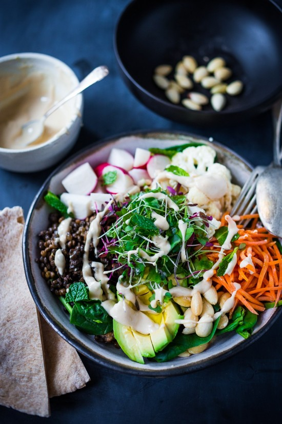 Delicious Dinner Bowls: Minted Lentil Salad with Hummus Dressing from Feasting at Home | The Health Sessions