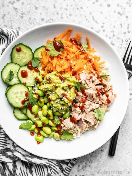 No-Cook Recipes- Spicy-Tuna-Guacamole-Bowls from Budget Bytes | The Health Sessions