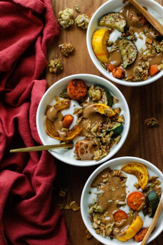 Savory Yogurt: Savory Yogurt Bowls with Cinnamon Roasted Veggies from Flora & Vino | The Health Sessions