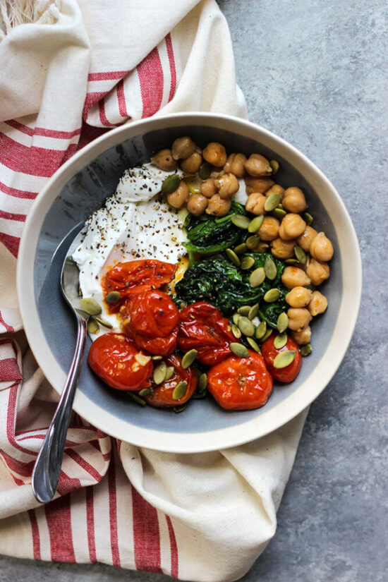 Savory Yogurt: Roasted Tomato and Spinach Yogurt Bowl from Dietician Debbie | The Health Sessions