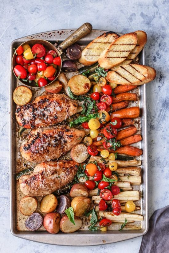 Shared Meals: Sheet Pan Bruschetta Chicken with Veggies from Food Fashion Party | The Health Sessions