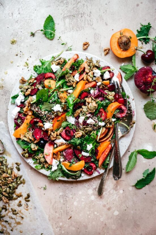 Healthy Stone Fruit Recipes: Stone Fruit Salad with Kale and Quinoa by Crowded Kitchen | The Health Sessions