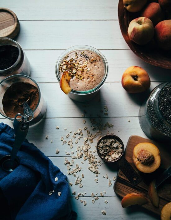 Healthy Stone Fruit Recipes: Vegan Peach Crumble Shake from The First Mess | The Health Sessions