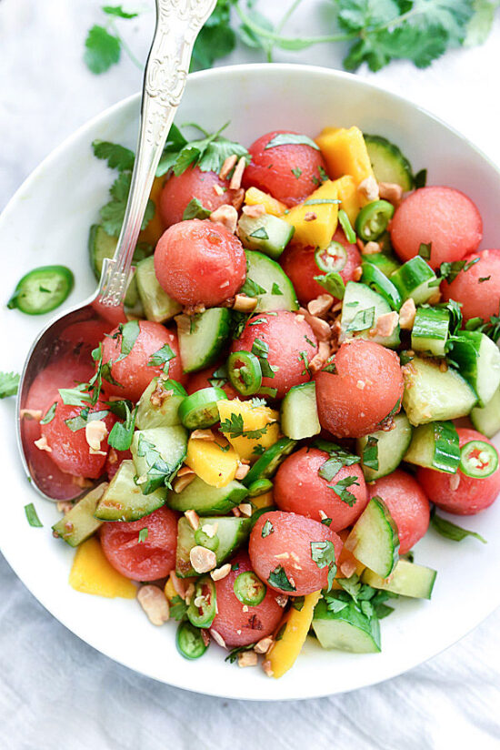 Summer Salads: Cucumber, Basil & Watermelon Salad from FoodieCrush | The Health Sessions