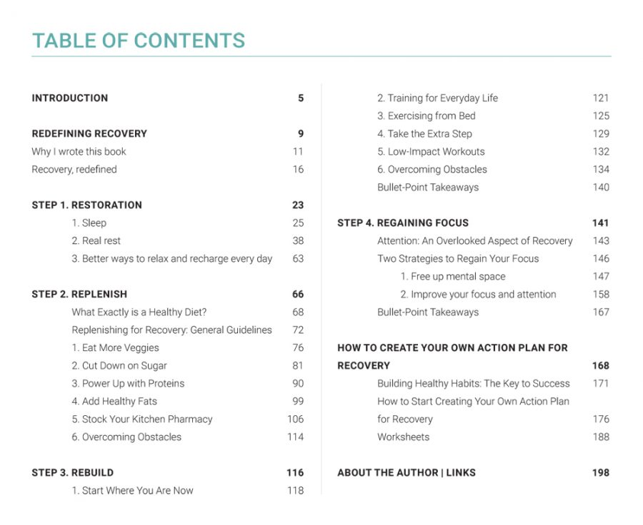 Table of Contents: How to Create Your Own Action Plan for Recovery | The Health Sessions