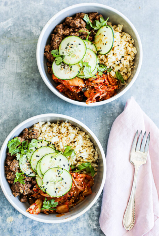 Winter Cabbages Recipes: Korean-Inspired Ground Beef and Kimchi Bowls from The Defined Dish | The Health Sessions