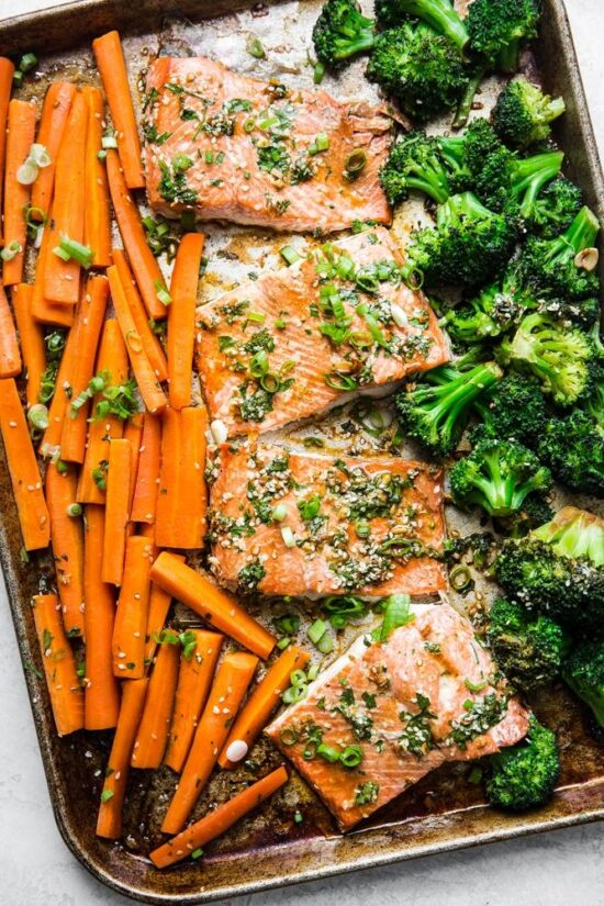 Winter Cabbages Recipes: Asian Salmon Sheet Pan Dinner from The Modern Proper | The Health Sessions