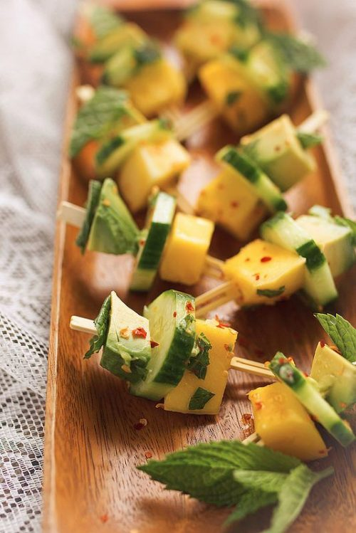 Healthy Party Food: Mango Avocado Cucumber Mint Bites via Tasty Yummies | The Health Sessions