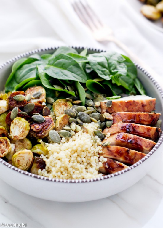 Delicious Dinner Bowls: Balsamic Brussels Sprouts and Chicken Quinoa Bowl from Cooking LSL | The Health Sessions