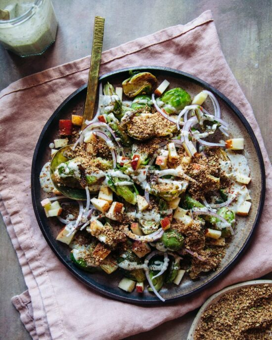 Winter Cabbages Recipes: Loaded Brussels Sprouts Salad from The First Mess | The Health Sessions