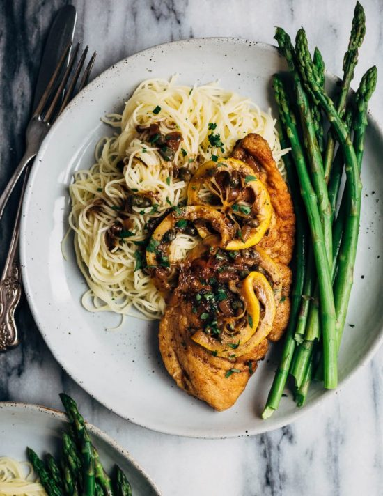 Health-Boosting Herb Recipes: Chicken Piccata with Pasta and Asparagus from Brooklyn Supper | The Health Sessions