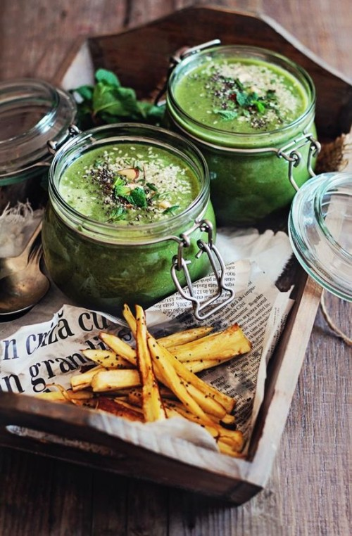How to Enjoy More Spring Vegetables Every Day: Spring Greens Soup with Baked Parsnip Fries from The Awesome Green | The Health Sessions