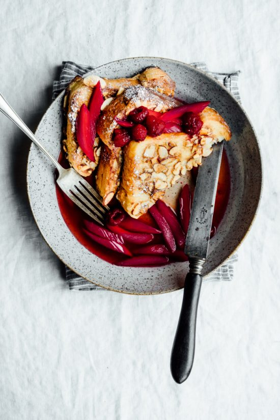 Healthy Stacks: Coconut Almond Brioche French Toast with Hibiscus Poached Rhubarb from Tending the Table | The Health Sessions